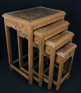 Vintage Carved Asian Nesting Tables Set of 4- Excellent condition!      CHARITY