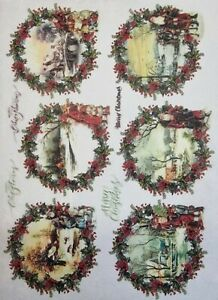 Rice Paper for Decoupage Scrapbook Craft Winter Picture Wreath 205