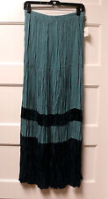 "GORGEOUS NEW ""ROPA"" BRAND ""TEAL w/ VELVET"" TIERED BROOM SKIRT, SIZE SMALL"