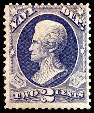 #O36 2c Ultramarine Navy Dept 1873 Official Mint Hinged Most Gum