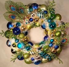Peacock Splode Christmas Ornament Wreath