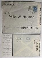 1916 Tenerife Spain Censored Airmail Cover To Copenhagen Denmark