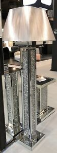 Diamond glass Sparkly crystals floor lamp with square Silver Shade 175cm/Home