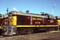 OHIO CENTRAL SYSTEM Railroad Locomotive 1077 YOUNGSTOWN OH Original Photo Slide