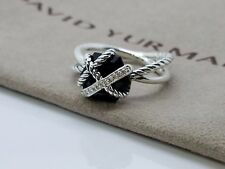 David Yurman Sterling Silver Cable Wrap Black Onyx and Diamond Ring Size 7