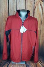 Reebok Mens Full Zip Windbreaker Jacket Size 3XL Red Blk Vented Long Sleeve NWT