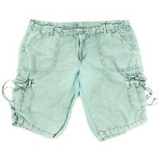 American Eagle Women's Cargo Shorts Drawstring Linen Blend Green Size 12 33x11