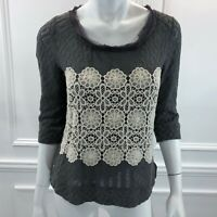 Anthropologie Meadow Rue S Grey Lace Top Blouse Crochet Floral Ruffle Cotton