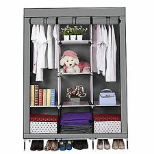 Large Durable Fabric Canvas Wardrobe With Hanging Rail Shelving Clothes - Grey