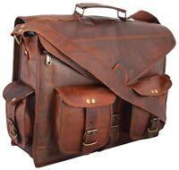 New Men's Women Leather Messenger Shoulder Briefcase Shoulder Satchel Laptop Bag