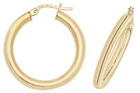 9CT GOLD HOOP EARRINGS YELLOW ROUND POLISHED PLAIN TUBE CREOLE SLEEPERS GIFT BOX