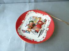 "Campbell Soup Kids, Adorable, Christmas Porcelain Ornament Plate, 3"" diameter"