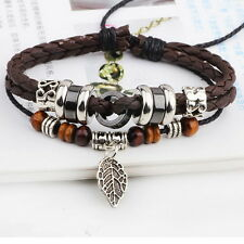 NEW Brown Leather Adjustable Bracelet Handmade Jewelry Cuff Women/Men Faith L33