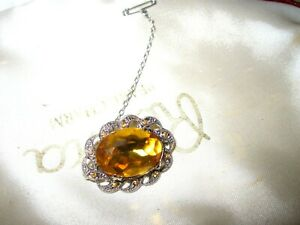 Beautiful vintage silvertone amber fx marcasite brooch with safety pin
