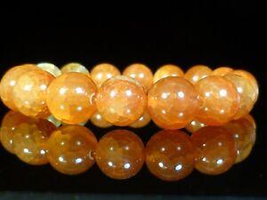 Crab Fire Agate GEMSTONE Crystal Beaded Stretch BRACELET 10mm