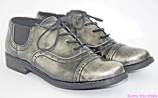 Crown Vintage Shoes Oxford Cap Toe Silver Metallic Fauna Lace Up Steampunk 9