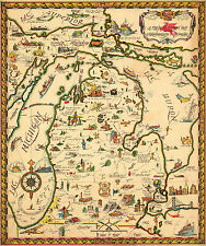 Map of the Commonwealth of Michigan Wall Art Poster Print Decor Vintage History