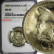 Guatemala 1989 25 Centavos NGC MS66 GEM BU TOP GRADED BY NGC KM# 278.5