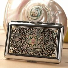 Mother of Pearl Metal Cigarette Tobacco Holder Credit Card Case Storage Wallet