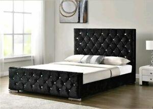 PARIS BLACK CRUSHED VELVET BED FRAME NEW SALE 3FT 4FT 4FT6 5FT 6FT FREE DELIVERY