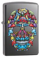 Zippo Mushroom Skull Design Black Ice Windproof Pocket Lighter, 49135
