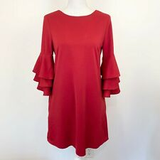 Papillon NWT Sz M dress tier ruffle pullover long bell sleeves women's