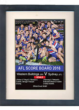 Western Bulldogs AFL Premiers 2016, framed print and clock.