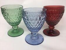 New Villeroy & Boch Boston Coloure Blue & Red & Green Crystal Wine Goblet 3 set