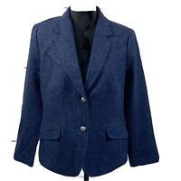 Talbots Aberdeen Women's Blazer Blue Wool-Blend Twill Size 14 NWOT