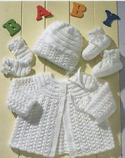 Knitting Pattern for Baby Matinee Coat, Bonnet, Mittens And Bootees chest 14-20
