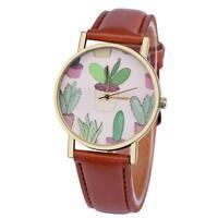 NEW Women Casual Watch Cactus Pattern Leather Band Analog Quartz Wrist Watch