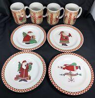 4 sets Magic of Santa Sakura Debbie Mumm  Mugs and Dessert Plates 8 Pcs Total