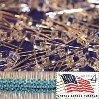 100x Blue 5mm Flat Top LEDs Wide Angle Light 12v Resistor Kit USA