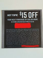 Hot Topic $15 off $50 Coupon Expires December 2020