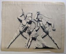 Gladiators. Rare Royal Navy trainee watercolour. 1850s. Signed.
