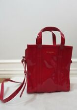 BALENCIAGA red patent leather shopper bag