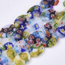 "5 Strands Oval Handmade Millefiori Lampwork Beads DIY Crafts 14x10x3.5mm 13.7"""
