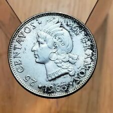 1963 (AU) Dominican Republic 25 Centavos Native Princess World Silver Coin