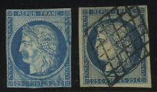 FRANCE  CERES  Scott #6a & 6b Blue, 25c Used