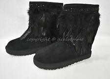 NEW UGG Classic Short Peacock Boots with Feathers/Swarovski Crystals US Size 7 M