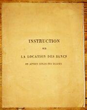 1833, NORMANDIE, Instruction sur la location des bancs et autres sièges, LA19