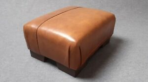 Footstool / Small Stool / Vintage real tan leather/ Brown   (CODE TAN 7)