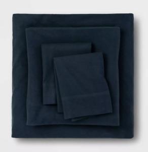 NWT Threshold TWIN Solid Fall Flannel Sheet Set Dark Blue