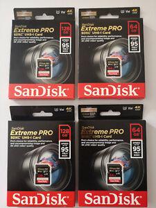 Lot Sandisk 64G et 128G Extreme Pro SD SDXC  95MB/s Carte Mémoire