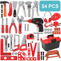 54PCS Kids Tool Toy Set Construction Toolbox Pretend Toys With Electric Drill US
