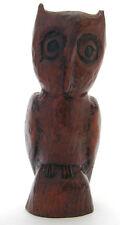 Vintage Hand Carved Owl Wood Figurine
