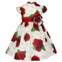 Designer LITTLE DARLINGS Special Occasion Dress Red/Cream WAS £84 NOW £40 SALE