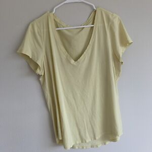 lululemon yellow v neck t Shirt size 12? 10? READ