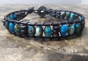 Handmade Mens Blue & Black Bone Shell Tribal Surf Leather Wrap Bracelet Indian