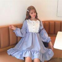 Japanese Women Girl Lolita Ruffles Dress Retro Long Puff Sleeve Cosplay Cute Top